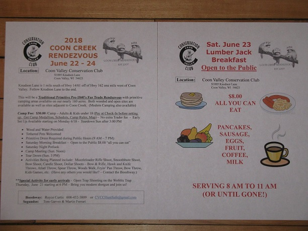 Coon Creek Rendezvous and Lumberjack Breakfast